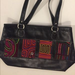 Handbags - Mola leather purse handmade in Colombia kuna tribe
